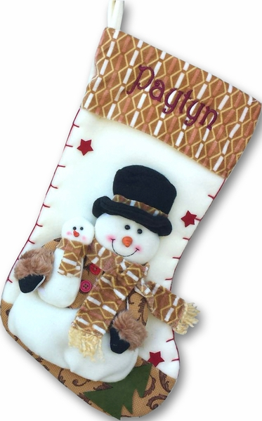 Designer Fleece 3D Snowman Christmas Stocking