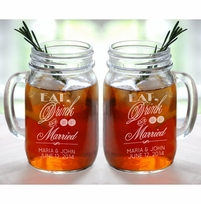 Eat Drink and Be Married Set of 2 Personalized Mason Drinking Mugs