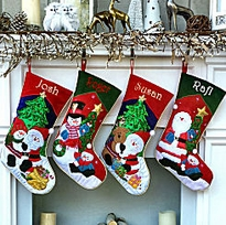 Embroidered Christmas Stocking Santa  Snowman Applique