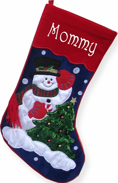 Embroidered Christmas Stocking Snowman Applique
