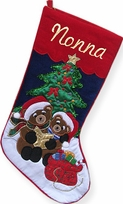 Embroidered Christmas Stocking Tree Applique