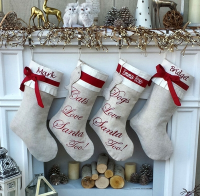 Embroidered Cuff Linen Christmas Stocking Cat, Dog, Family, Kids Rark Red LinenMonogrammed