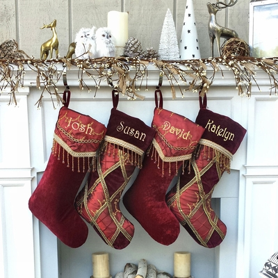 Embroidered V-cuff Renaissance Christmas Stocking
