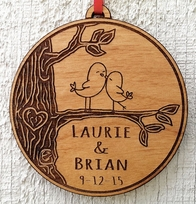 Engraved Love Birds Heart Customized Christmas Ornament for Couples Gi