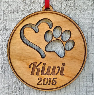 Engraved Pet Ornament Personalized with Heart PawPrint Pets Name and D