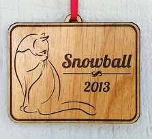 Engraved Pet Wood Ornament Gift Idea With Pet Name and Date Stocking S