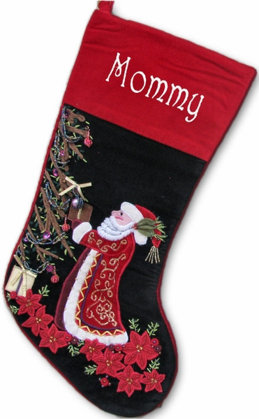 Hand Embroidered Father Christmas Stocking