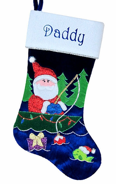 fisherman santa fishing christmas stockings