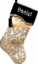 French Curve Gold and Black Personalized Stockings