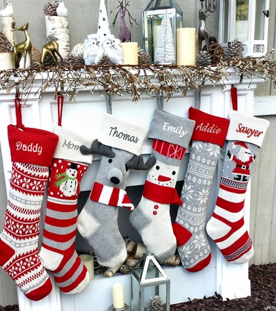 Fun Personalized Knitted Christmas Stockings - Kids Santa  Moose Striped Snowman Snowflakes - Scandinavian Intarsia Nordic Look