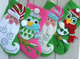 Funky Owl and Santa Christmas Stocking