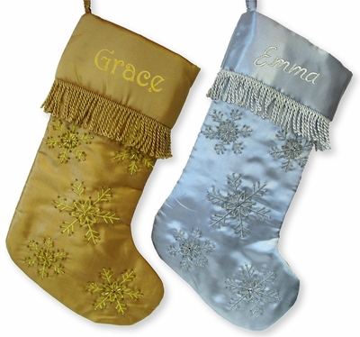 Gold or Silver Snowflake Beaded Christmas Stocking