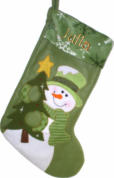 Green Collection Designer Snowman Personalized Stocking