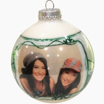 Green Swirl Photo Ornaments