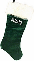 "Green Velvet  Christmas Stocking 21"" with Long Faux Fox Fur"