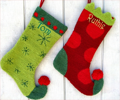 Harlequin Red or Green Christmas Stocking - Personalized