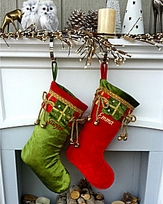Jingle Bells Velvet Christmas Stocking Red Green Gold Personalized