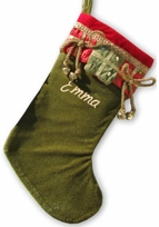 Jingle Bells Velvet Christmas Stocking - Green Red