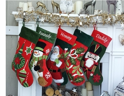 Santa Nutcracker Snowman Large Christmas Stockings - Free Personalization