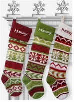 "Knit Christmas Stockings - Large 28"" Red Green Snowflakes"