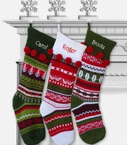 Knit Christmas Stockings with Pom Pom Cuff