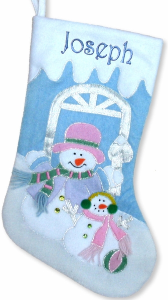 "Large 20"" Blue Snowman Velvet Personalized Stockings"