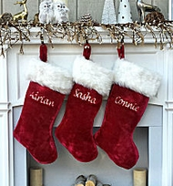 "Luxury 21""  Plush Burgundy Christmas Stocking"