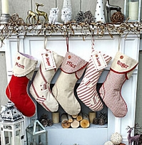 Red White Linen Canvas Striped Country Charm Christmas Stockings Personalized