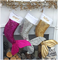 Seqins Mermaid Tail Personalized Bling Chritsmas Stockings Pink Purple Gold