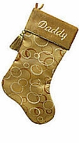 Modern Personalized Christmas Stockings - Gold Organza