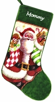 Monogrammed Needlepoint Stocking - Santa with Stockings