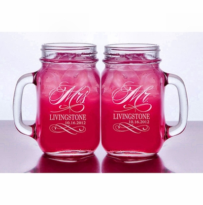 Mr and Mrs Set of 2 Personalized Mason Jars Drinking Mugs with Handle