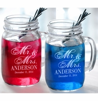 Mr and Mrs Set of 2 Personalized Wedding Mason Jars Drinking Mugs
