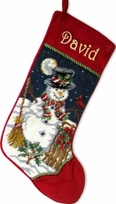 Needlepoint Stockings Personalized Snowman Design