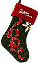 Olive Green Velvet Christmas Stockings Ribbon Applique