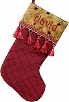 Organza Diamond Patterned Personalized Christmas Stocking