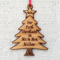 Our First Christmas Tree Ornament as Mr and Mrs Laser Wood Engraved Pe