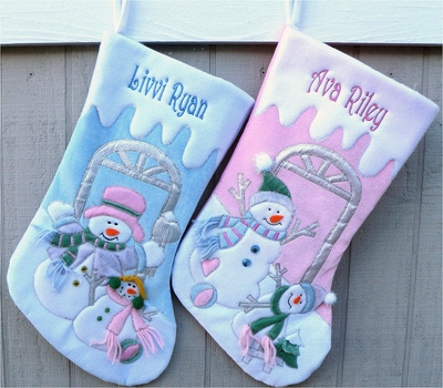 Parent and Child Snowman Pink Christmas Stocking