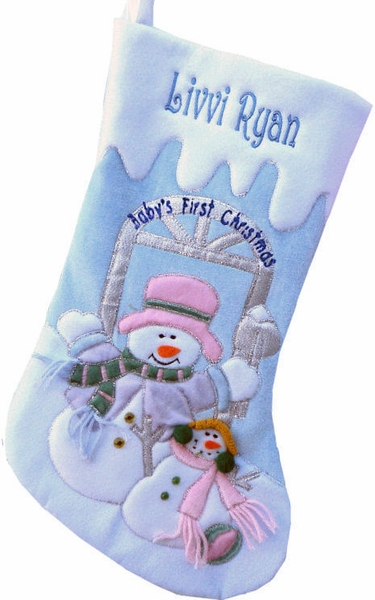 Personalized Blue Velvet Baby Boy's First Christmas Stocking