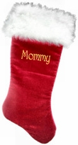 "Personalized Christmas Stocking  21"" Velvet w/ Long Fox Cuff"