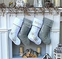 personalized christmas stockings silver white velvet 20 - Blue Christmas Stocking
