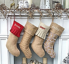 Personalized Elegant Burlap Christmas Stockings Print Moroccan Modern