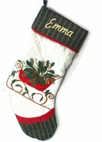 Personalized Holiday Stockings Holly Applique