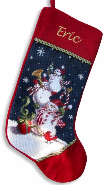 Personalized Jolly Snowman Stockings - Needlepoint
