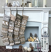 "Personalized Knit Christmas Stockings Large 28"" White Grey Beige Modern"