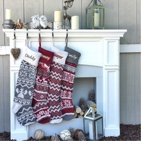 "Personalized Large 28"" Knitted Christmas Stockings Red Grey White  Intarsia Nordic Scandinavian Knit"