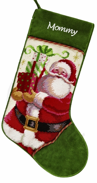 Personalized Needlepoint Christmas Stockings - Santa with Gifts
