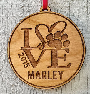 Personalized Pet Ornament Gift With Love Paw Print Pets Name and Date