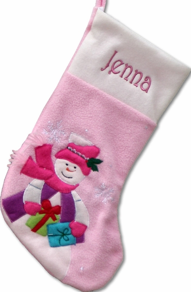 Personalized Pink Snowman Stocking