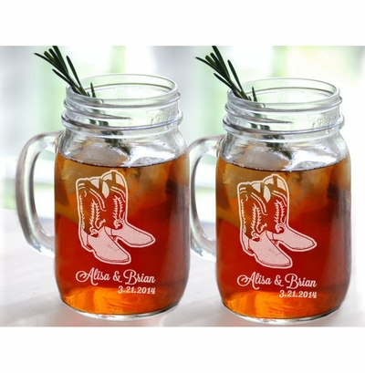 Personalized Set of 2 Cowboy Boots Mason Jars Glasses Country Western Barn Wedding